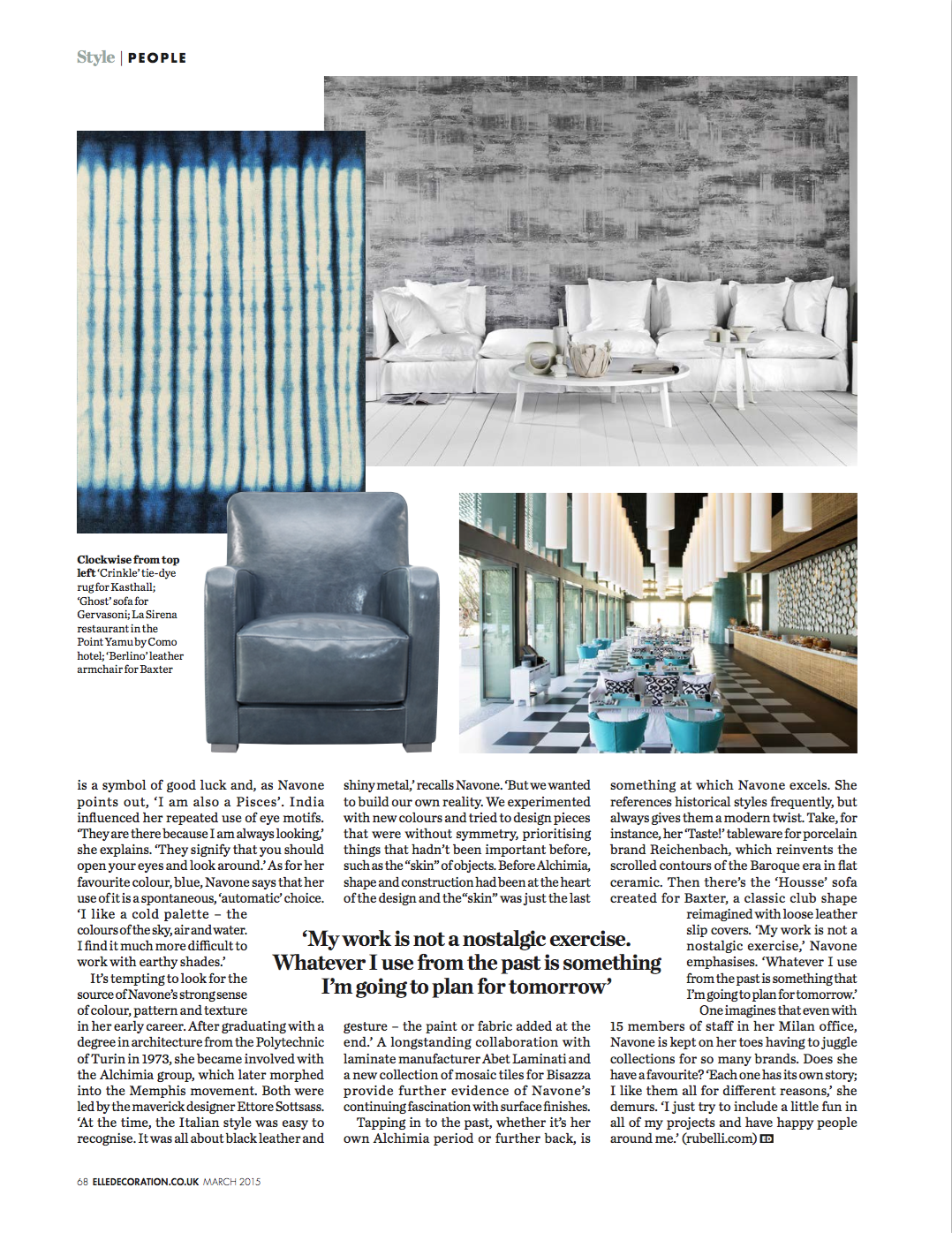 Paola Navone Elle interview